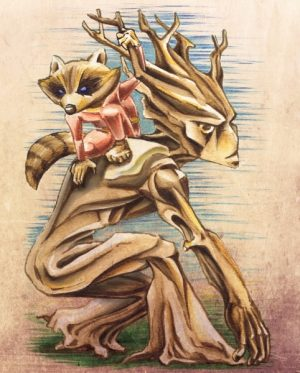 Rocket and Groot (water color pencil)